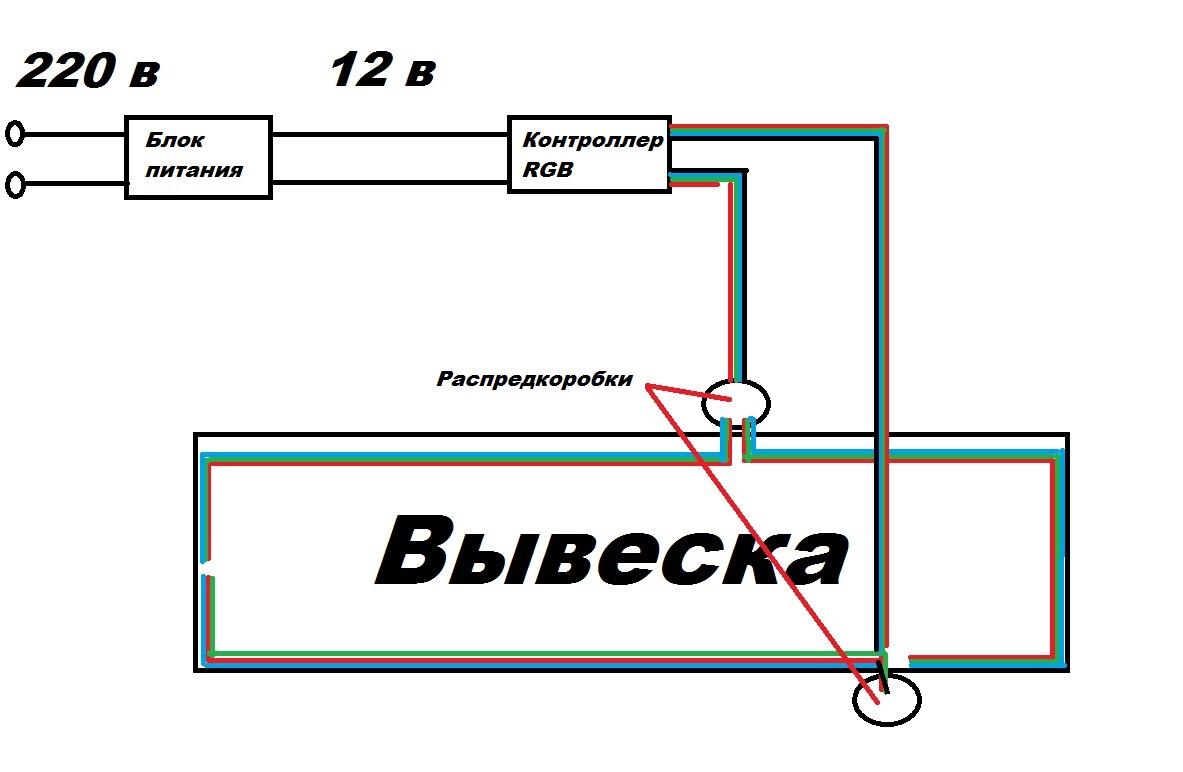 Схема подключения ленты RGB2