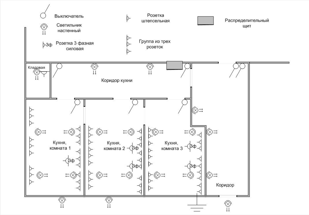 Схема кухни - электромонтаж 2