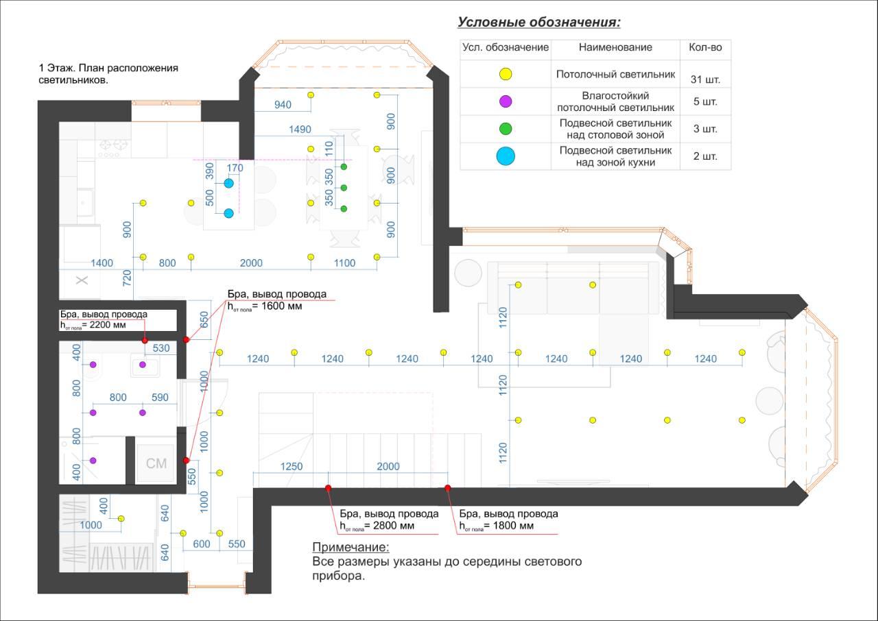 План расположения светильников 1.1